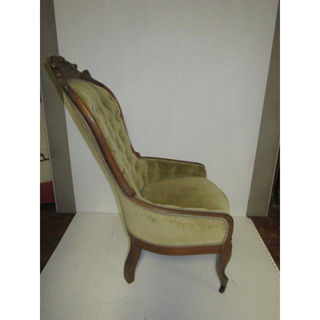 Green Victorian Chair With Green Velvet Upholstery For Sale - Image 8 of 11