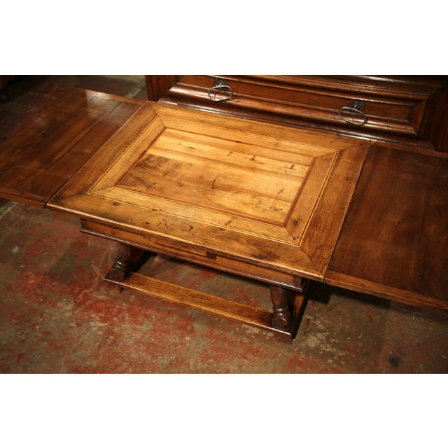 18th Century French Walnut Coffee Table with Drawers and Pull Out Leaves For Sale - Image 4 of 9