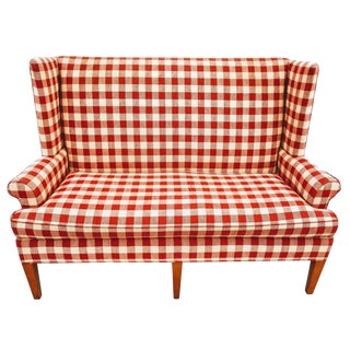 Vintage Wingback Red Gingham Check Love Seat by Hickory Tavern a Division of Lane Furniture For Sale