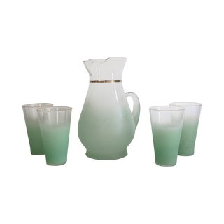 Green Glass Entertaining Pitcher & Glasses - Set of 5