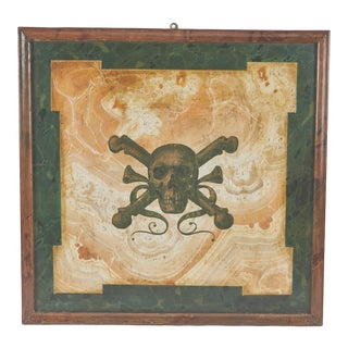 Mid 19th Century Italian Funerary Sign With Stylized Skull For Sale