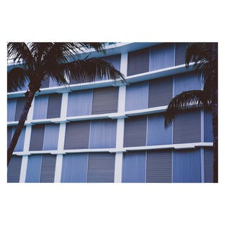 Miami Beach Grid Architecture in Purple Tones With Palm Trees Unframed Photograph For Sale