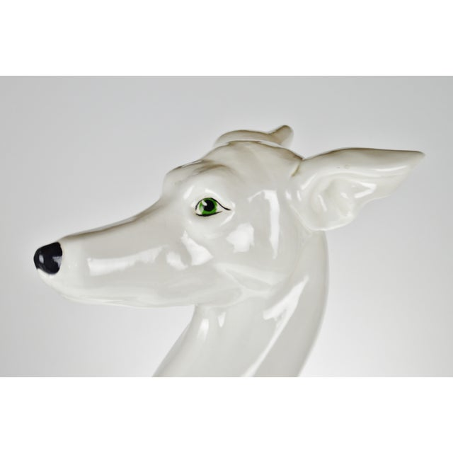 """Vintage Italian Ceramic Whippet Greyhound 28"""" Dog Sculpture For Sale - Image 9 of 13"""