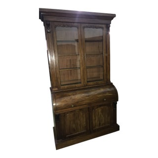 English Mahogany Cylinder Bookcase Circa 1860 For Sale