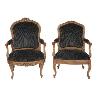 Mid 19th Century Mr. And Ms. French Walnut Bergeres in Velvet Animal Print- A Pair For Sale