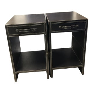 Modern Style Leather Bedside Tables - a Pair For Sale