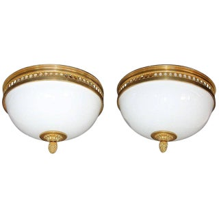 French Doré Bronze and White Opaline Glass Flush Mount Ceiling Lights - a Pair For Sale