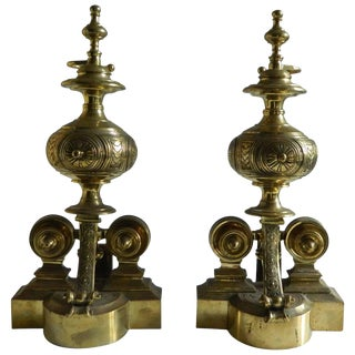 Pair of Polished Brass Chenets or Andirons, 19th Century For Sale