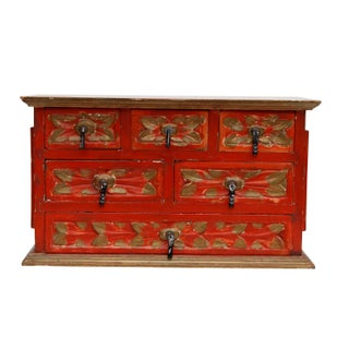 Shabby Chic Red & Gold Jewelry/Trinket Box Preview