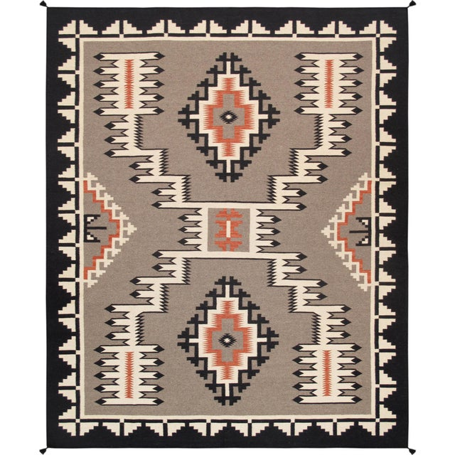 Modern Pasargad Home Navajo Style Wool Area Rug-9′1″ × 11′10″ For Sale - Image 4 of 4