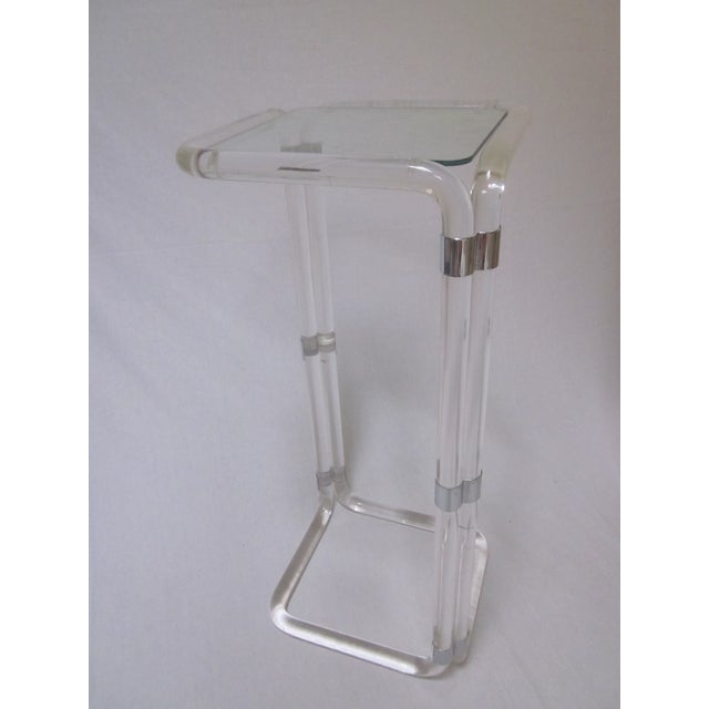 Thick Banded Lucite Pedestal Stand Table - Image 2 of 11