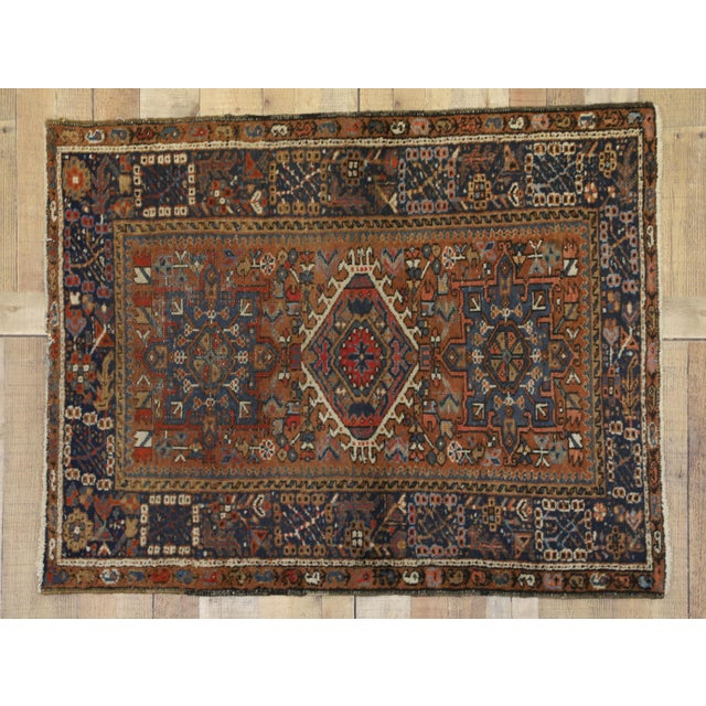 Textile Antique Persian Karaja Heriz Rug With Mid-Century Modern Style, 3'6x4'6 For Sale - Image 7 of 9