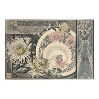 Rare Horizontal Matted Art Nouveau Botanical Chromolithograph Design-Chrysanthemums For Sale