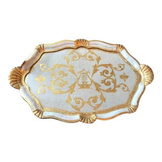 Large Italian Florentine Serving Tray With Framed Glass Insert For Sale