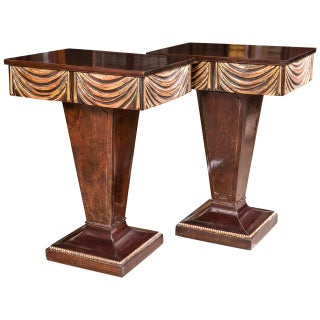Pair of Hollywood Regency Grosfeld House Pedestal Night Tables / End Tables