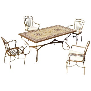 Outdoor Mosaic Marble Top Table & Armchairs - Set of 5 For Sale