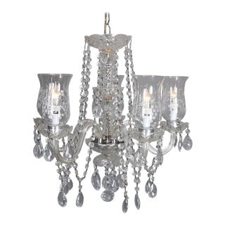 Vintage Italian Cut Crystal and Chrome Chandelier, 20th Century For Sale