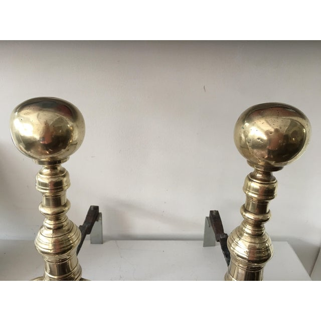 Antique Colonial Brass Andirons - A Pair - Image 2 of 6