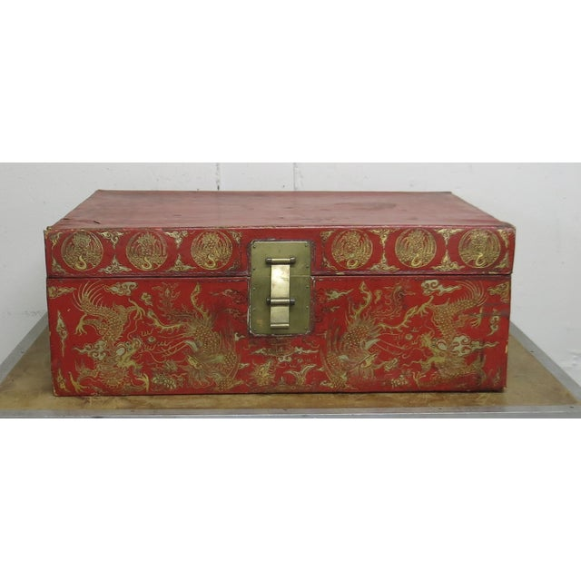 Antique Chinese Leather Trunk For Sale - Image 13 of 13