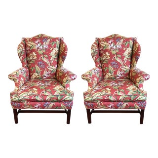 Custom Crafted Wingback Chairs - A Pair