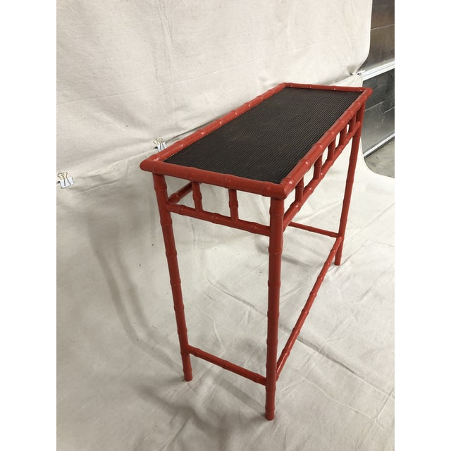 1980s Hand Painted Bamboo Hall Table For Sale - Image 4 of 5