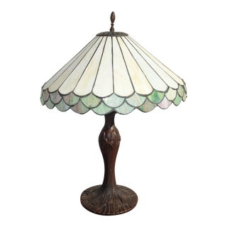 1970s Vintage Tiffany Style Stained Glass Table Lamp Light With Ornate Metal Base For Sale