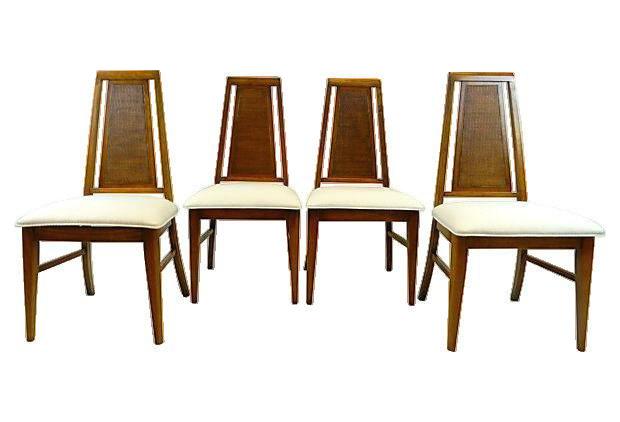 Mid Century Modern Upholstered U0027Hookeru0027 Dining Chairs   Set Of 4