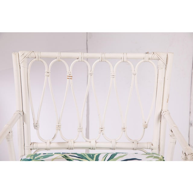 Wood 1950s Vintage White Rattan Armchair For Sale - Image 7 of 13