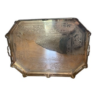 Vintage Brass Serving Tray For Sale