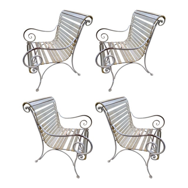 Salterini Style Regency Iron Patio Chairs, Set of 4 For Sale
