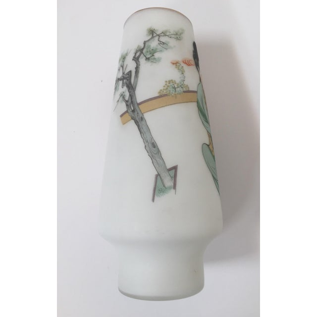 Midcentury Japanese gilded gold rim hand painted opaline glass snow white vase. The white milky frosted opaline glass vase...