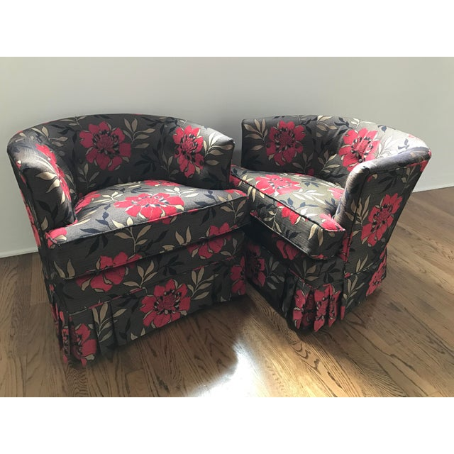 Vintage Mid-Century Upholstered Club Chairs - a Pair - Image 2 of 6