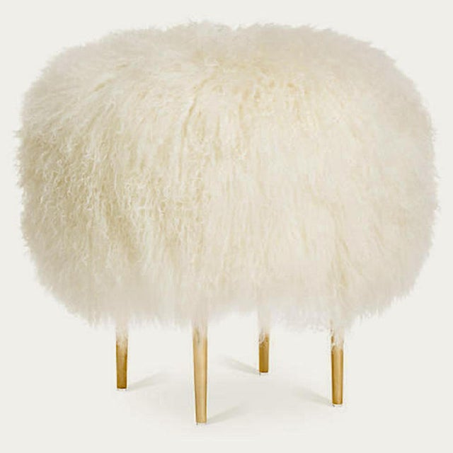 """Modern Warm White Curly Rachel 24"""" Stool For Sale - Image 3 of 3"""
