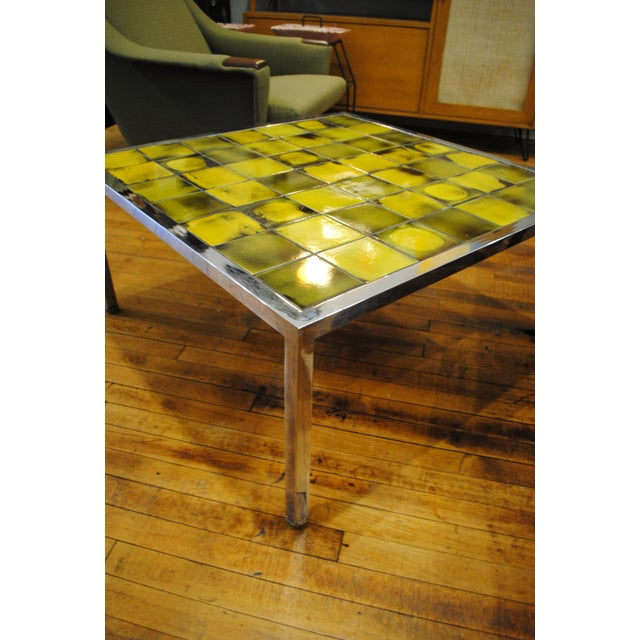 Tile and Chrome Danish Modern Coffee Table - Image 4 of 8