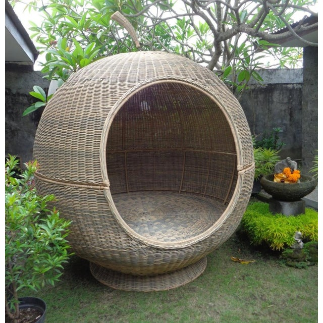 Outdoor Rattan Apple Pod Bed For Sale In Los Angeles - Image 6 of 7