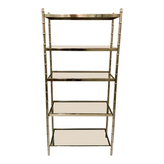 Mid-Century Modern Vintage Chrome and Smoke Glass Bamboo Shelf/Etagere For Sale