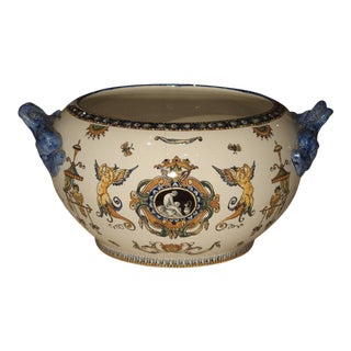 Antique Gien Cachepot With Dolphin Handles From France, Circa 1900 For Sale