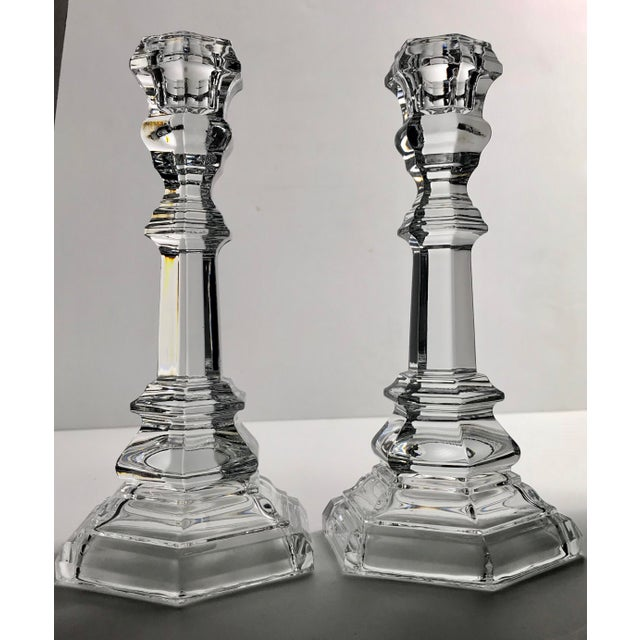 Tiffany and Co. Vintage Tiffany & Co Crystal Plymouth Candlesticks - a Pair For Sale - Image 4 of 5