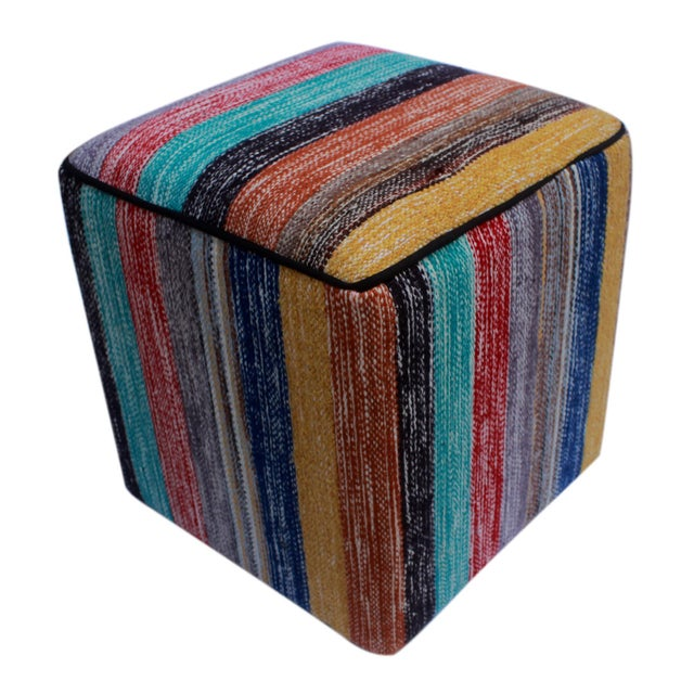Textile Arshs Donald Red/Green Kilim Upholstered Handmade Ottoman For Sale - Image 7 of 8