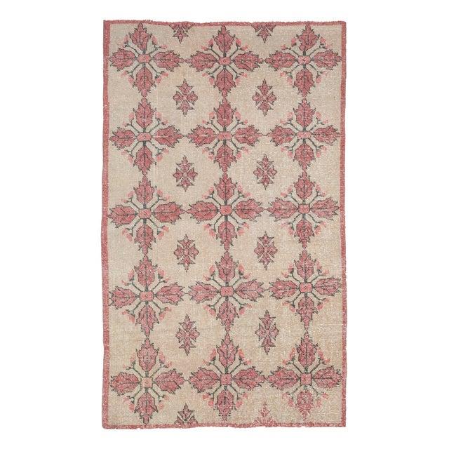 Textile 1960s Vintage Worn Turkish Floral Rug- 4′1″ × 7′ For Sale - Image 7 of 7