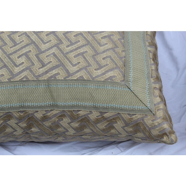 """Silk Silk """"Greek Key"""" Down Pillows in Beige/Taupe With Light Green Embroidered Trim - a Pair For Sale - Image 7 of 13"""