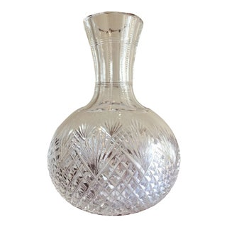 Lead Crystal Cut Glass Open Decanter or Vase For Sale
