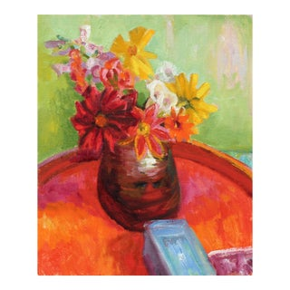 Bright Still Life With Flowers, Oil Painting, Late 20th Century For Sale