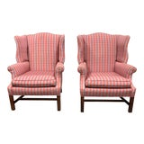 Image of Custom Upholstered Wingback Chair - a Pair For Sale