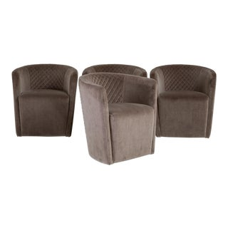 A Set of Four Contemporary Italian, Quilted Swivel Tub Chairs For Sale
