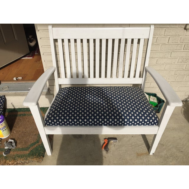 Mission-Style White & Navy Bench - Image 3 of 6