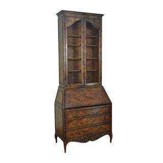 Vintage Louis XV Style Walnut Bookcase Top Secretary Desk For Sale