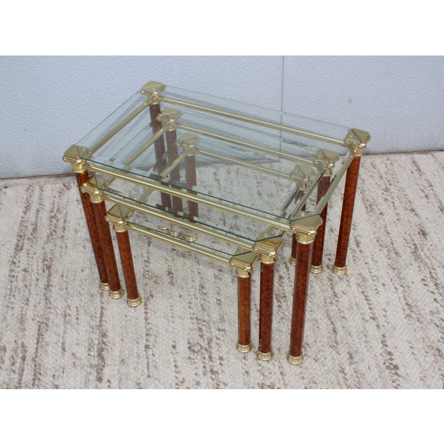 1980s Italian Brass Nesting Tables For Sale - Image 4 of 11