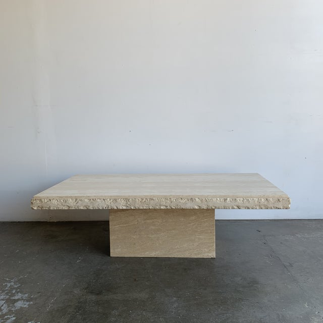 Textured Edge Travertine Coffee Table For Sale - Image 13 of 13