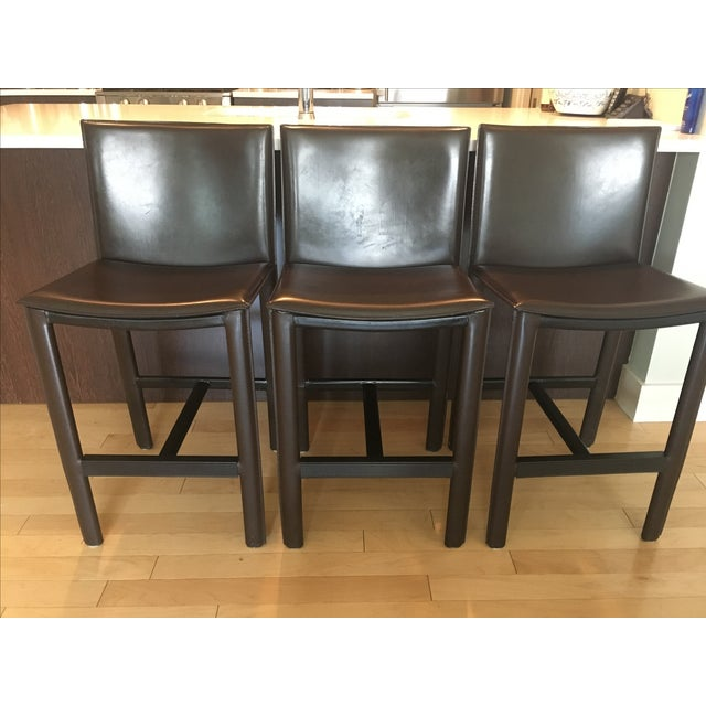 RH Brown Leather Counter Stools - Set of 3 - Image 2 of 6